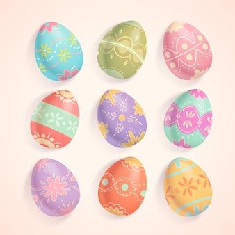 Conjunto de vários ângulos de ovos de páscoa