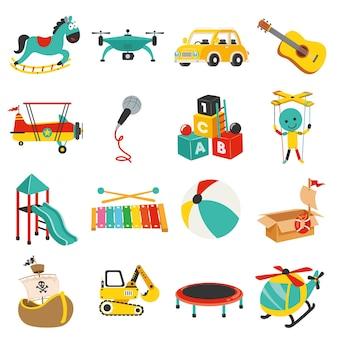 Conjunto de vários brinquedos coloridos