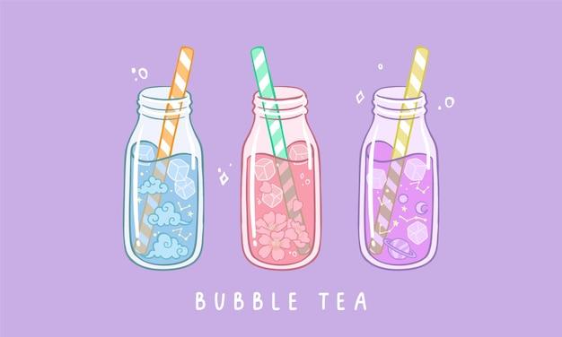 Conjunto de vários chá de bolhas de chá com leite com pérolas de tapioca chá de boba bebida taiwanesa asiática