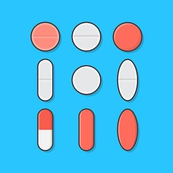 Conjunto de vários comprimidos médicos e ícones de pílulas