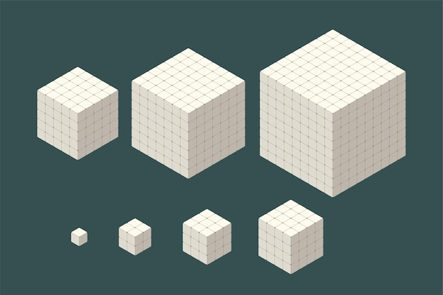 Conjunto de vários cubos isométricos de cor branca