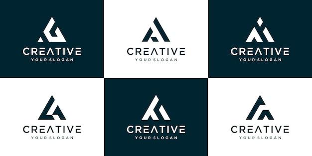 Conjunto de vários design de modelo de logotipo de letra a