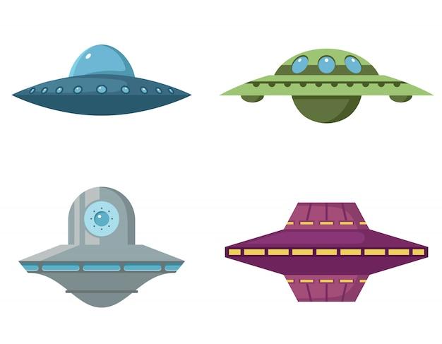 Conjunto de vários discos voadores. ovni em estilo cartoon, isolado no fundo branco.