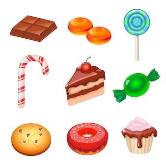 Conjunto de vários doces coloridos, doces e bolos.