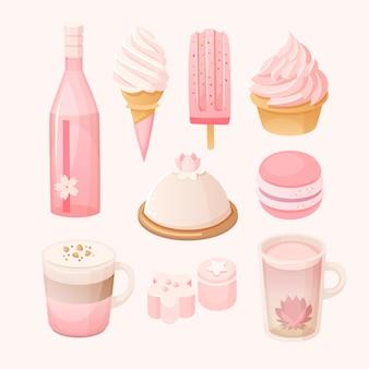 Conjunto de vários doces e sobremesas de cor rosa pastel. sakura tempera comida temática.