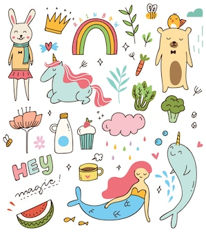 Conjunto de vários doodle isolado no fundo branco