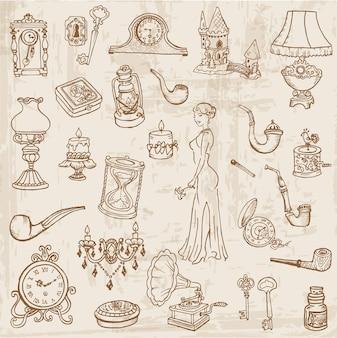 Conjunto de vários elementos de doodle vintage - desenhado à mão