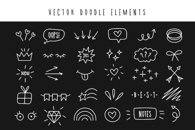 Conjunto de vários elementos do doodle. símbolos simples para design e decoração. Vetor Premium
