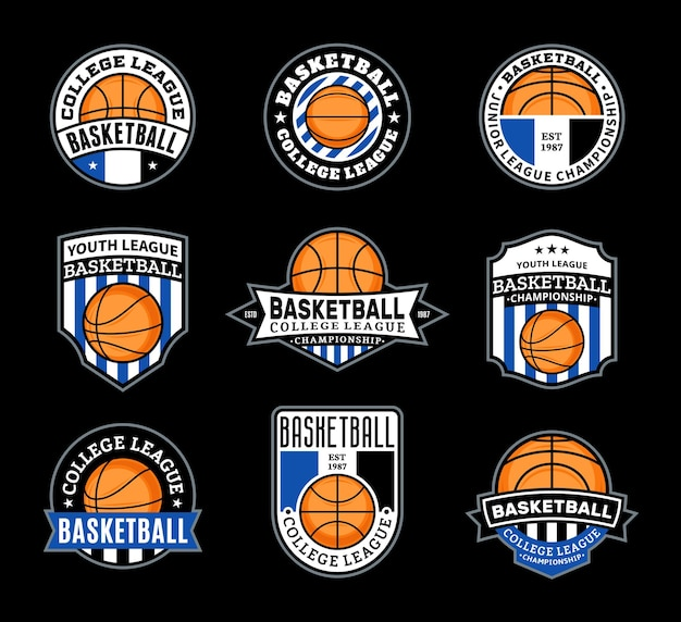 Conjunto de vários emblemas de basquete Vetor Premium