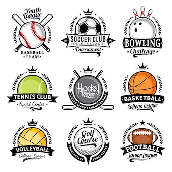 Conjunto de vários emblemas esportivos com bolas esportivas