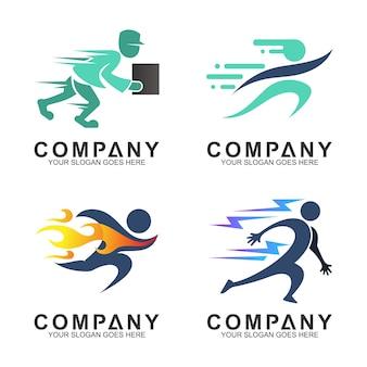 Conjunto de vários esportes e logotipo do serviço de entrega