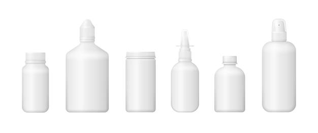 Conjunto de vários frascos médicos para medicamentos, comprimidos, comprimidos e vitaminas. Vetor Premium