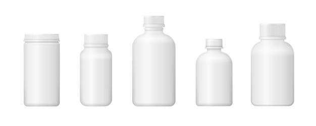 Conjunto de vários frascos médicos para medicamentos
