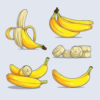 Conjunto de vários frutos de banana amarela maduros inteiros e picados