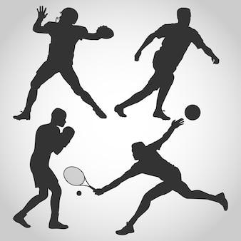 Conjunto de vários homens silhueta de esportes