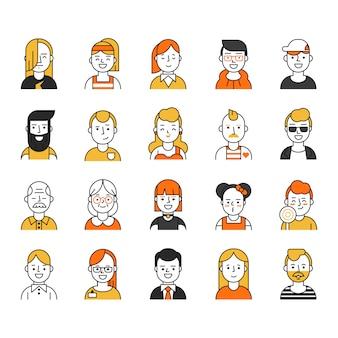 Conjunto de vários ícones de avatares no estilo de linha mono