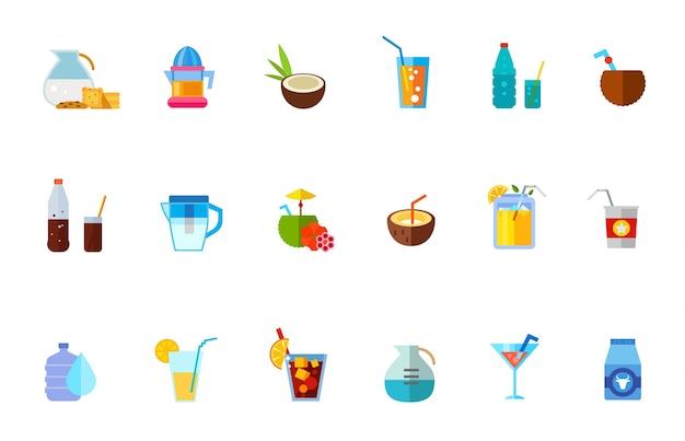 Conjunto de vários ícones de bebidas refrescantes