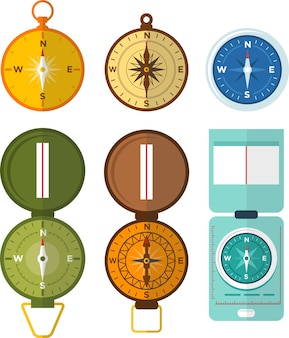 Conjunto de vários ícones de bússola e navegação