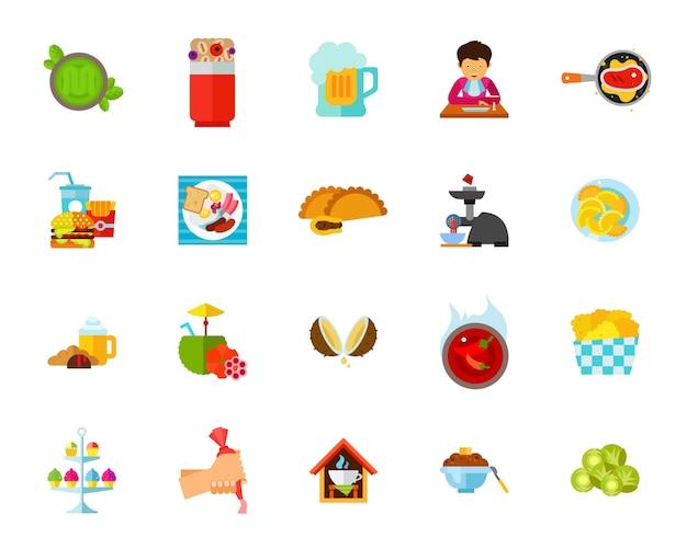 Conjunto de vários ícones de pratos