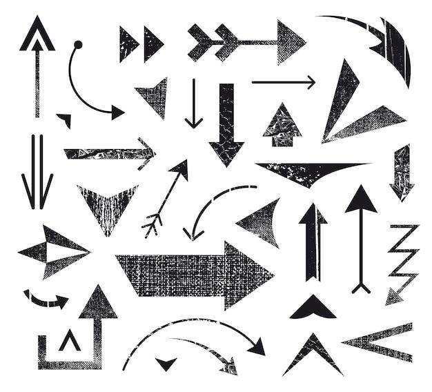 Conjunto de vários ícones de setas, logotipos de setas. setas diferentes, ícones de direção. preto e branco, texturizado