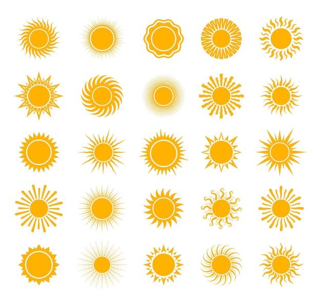 Conjunto de vários ícones de sol céu de natureza solar de verão