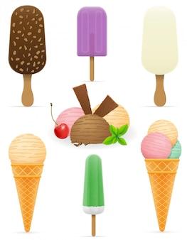 Conjunto de vários ilustração vetorial de sorvete