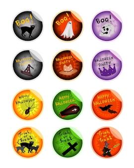 Conjunto de vários males e itens em adesivos de halloween