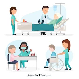 Conjunto de vários médicos com pacientes