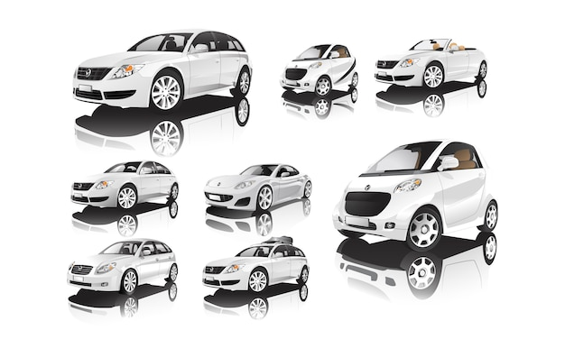 Conjunto de vários modelos de vetores de carros brancos