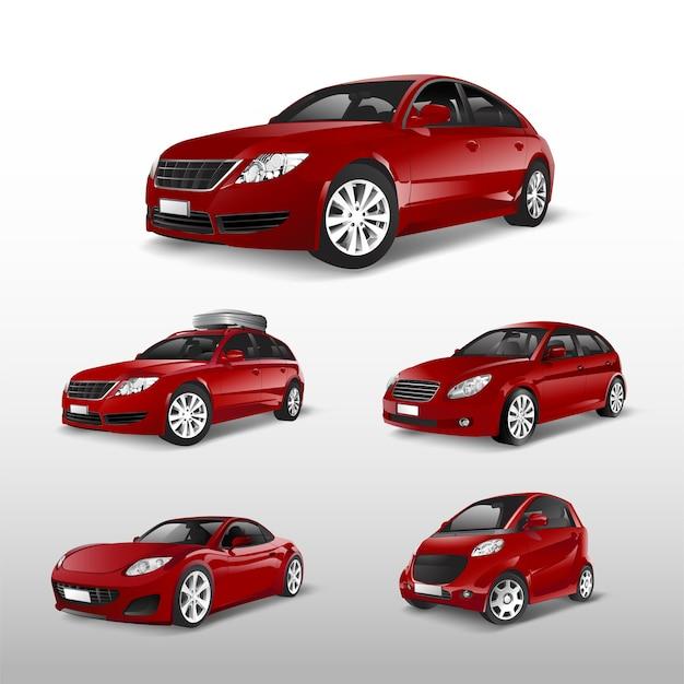 Conjunto de vários modelos de vetores de carros vermelhos