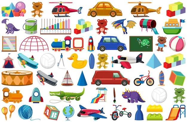 Conjunto de vários objetos de desenho animado