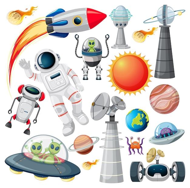 Conjunto de vários objetos espaciais em fundo branco