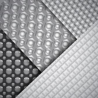Conjunto de vários padrões de fibra de carbono sem costura nas cores preto e cinza