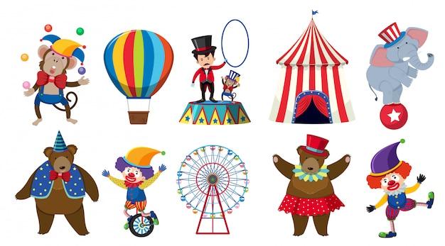 Conjunto de vários personagens de circo