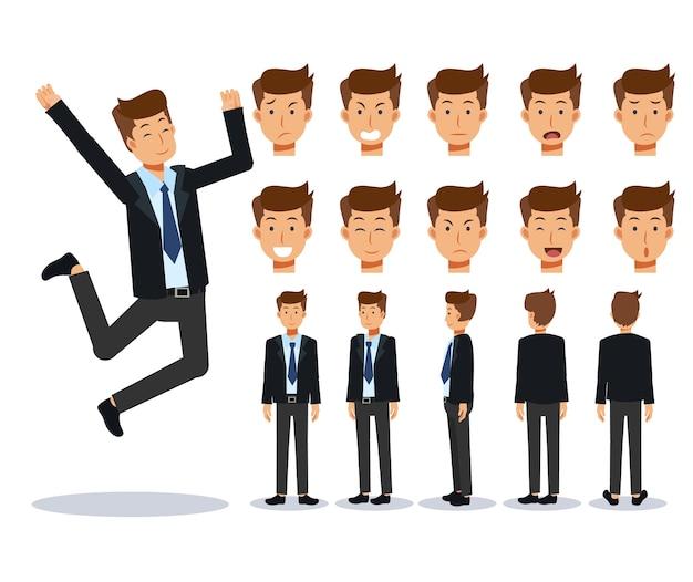 Conjunto de vários pontos de vista do empresário de personagem plana, estilo cartoon.