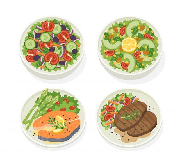 Conjunto de vários pratos de comida com salada de legumes fresca
