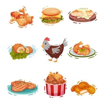 Conjunto de vários pratos de frango