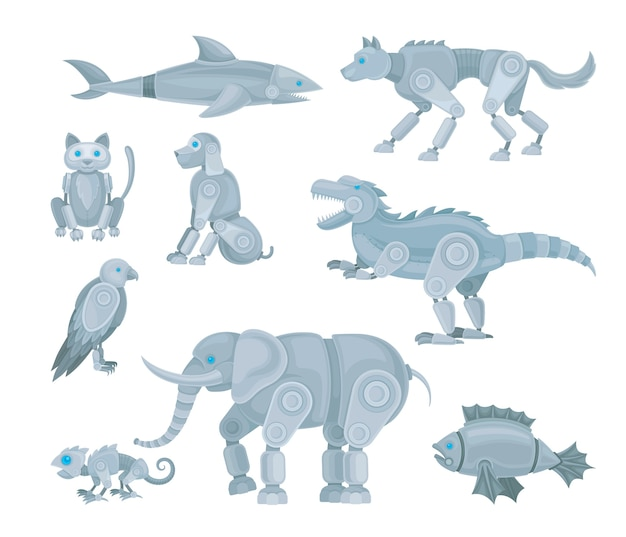 Conjunto de vários robôs animais