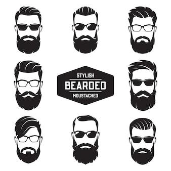 Conjunto de vários rostos de homens barbudos.