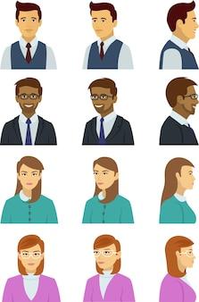 Conjunto de vários rostos humanos com muitas poses e emoções
