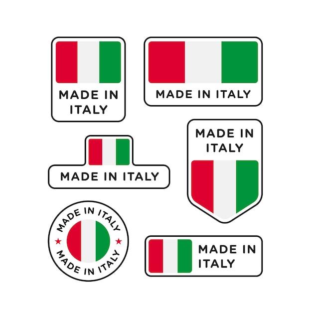 Conjunto de vários rótulos made in italy