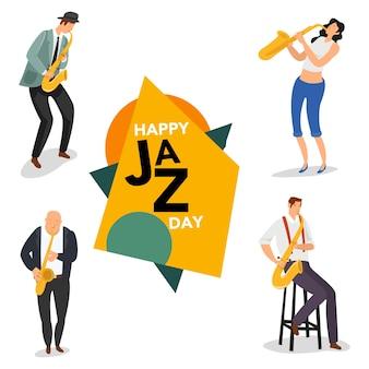 Conjunto de vários saxofonistas que se apresentaram num evento de jazz