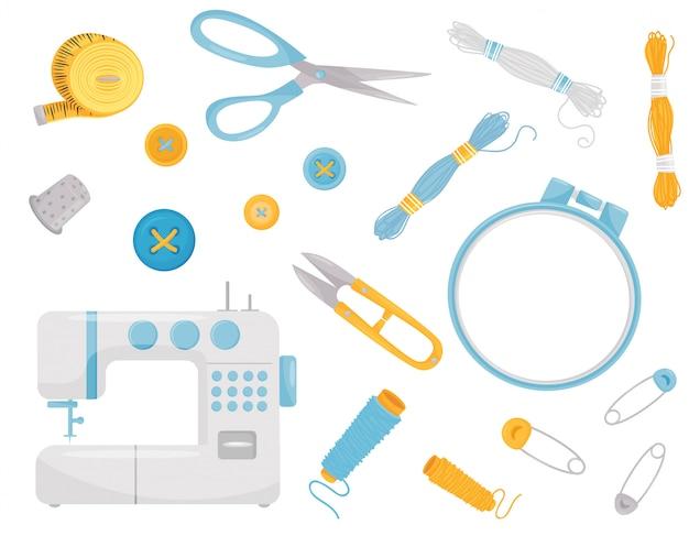 Conjunto de vários suprimentos e equipamentos de costura. instrumentos profissionais de costura