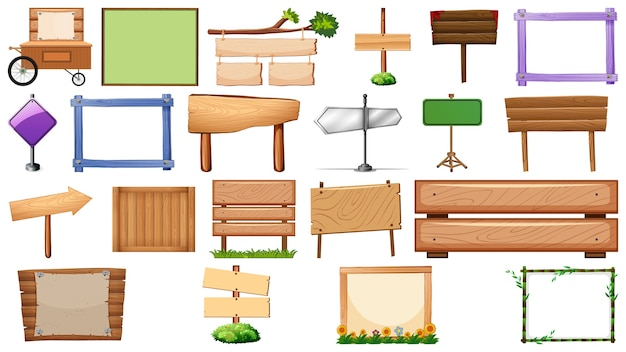 Conjunto de vários tipos de banner de sinal