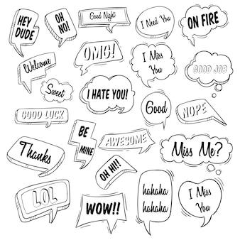 Conjunto de vários tipos de discurso de bolha com doodle ou estilo mão desenhada