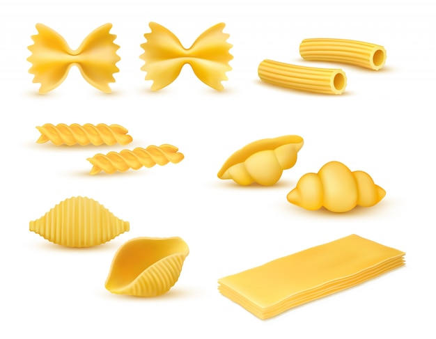 Conjunto de vários tipos de macarrão seco realista, variedade de massas, cozinha italiana, massas, farfalle, conchiglie, rigatoni, fusilli, nhoque, lasanha, ilustração vetorial, isolada no fundo branco
