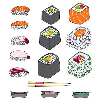 Conjunto de vários tipos diferentes de sushi isolado no fundo branco