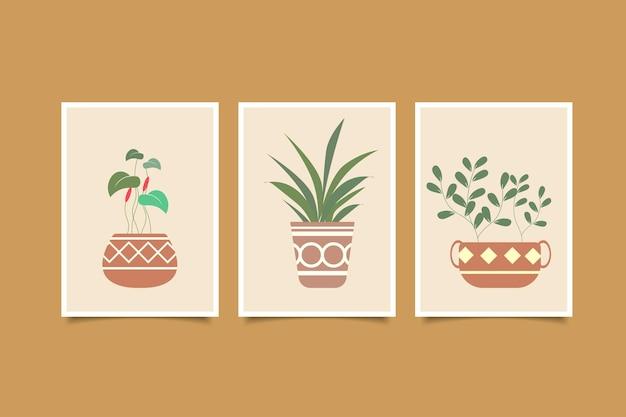 Conjunto de vaso abstrato de arte de parede e coleção floral