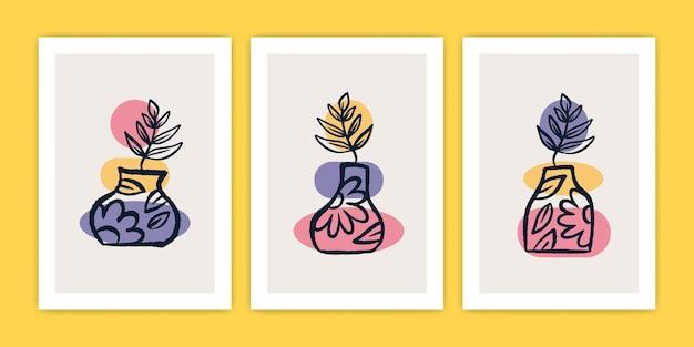 Conjunto de vaso boho abstrato com ilustração de cartaz de planta