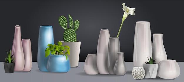 Conjunto de vaso de cerâmica branco isolado em um fundo preto